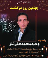 چهلمین روز درگذشت وحید محمدعلی تبار